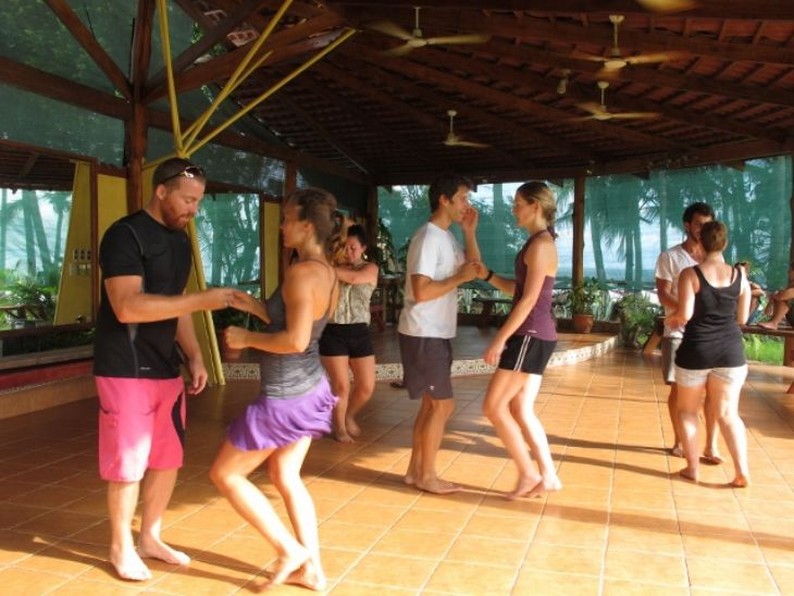 Latin Dance Class at our beachfront campus